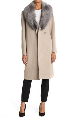 Sofia Cashmere Oversized Genuine Fox Fur Collar Wool Blend Wrap Coat
