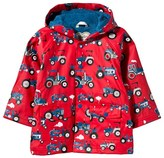 Hatley Red Tractor Print Hooded Fleece Lined Raincoat