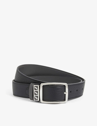 Fendi Logo-embellished reversible leather belt