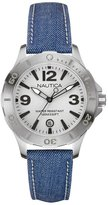 Nautica Women's Blue Cloth Stainless Steel Case Mineral Glass Watch NAI11504M