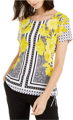 INC International Concepts Inc Printed Lace-Up Corset Top