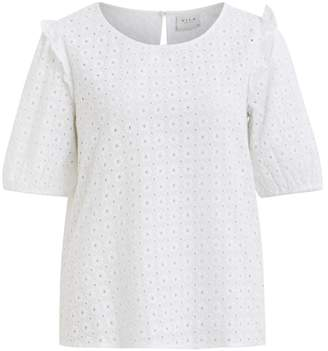 Vila Virosanna Open Embroidered Cotton Blouse with 3/4 Length Ruffled Sleeves
