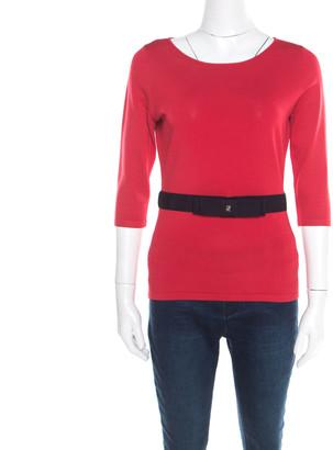 Carolina Herrera CH Red Knit Contrast Waist Bow Detail Long Sleeve Top S