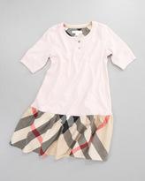 Burberry Henley Check-Skirt Dress, Ice Pink