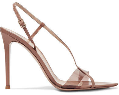 Gianvito Rossi 105 Leather And Pvc Sandals - Neutral