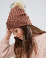 Pieces Knitted Pom Beanie in Copper Pink