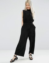 Weekday High Neck Crop Velvet Jumpsuit