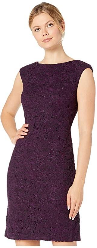 Lauren Ralph Lauren Isabella Scllp Lace Cithya Cap Sleeve Day Dress (Raisin) Women's Clothing