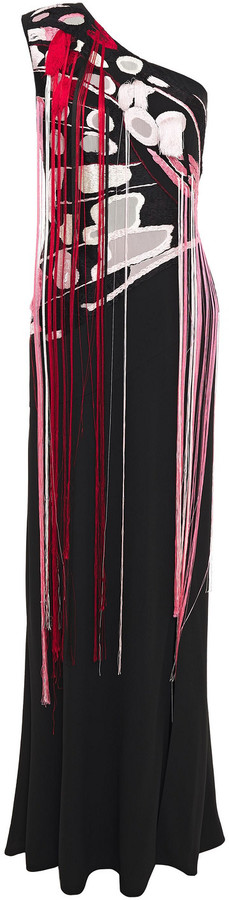 Alexander McQueen One-shoulder Fringed Embroidered Crepe Gown