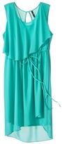 labworks Women's Plus-Size Sleeveless Ruffled Chiffon Dress - Aqua Blue