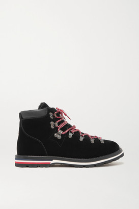 Moncler Blanche Shearling-lined Velvet Ankle Boots - Black