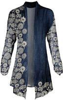 Lily Women's Open Cardigans BLU - Blue & Cream Floral Pointed-Hem Open Cardigan - Women & Plus