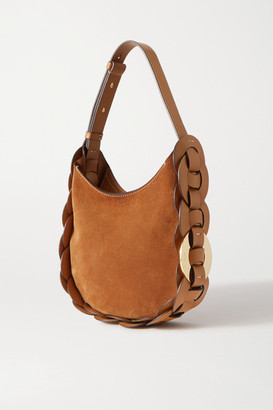 Chloé Darryl Small Braided Leather And Suede Shoulder Bag - Brown