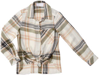 Bella Dahl Frayed Tie-Front Plaid Shirt, Size 8-14