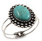 Avalaya Vintage Oval Shape Turquoise Stone Hinged Bangle Bracelet