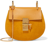 Chloé Drew Mini Leather And Suede Shoulder Bag - Saffron