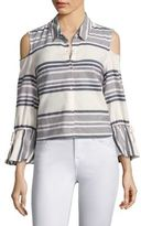 Splendid Striped Cold-Shoulder Bell Sleeve Shirt