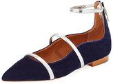 Malone Souliers Robyn Velvet Ankle-Strap Flat, Navy