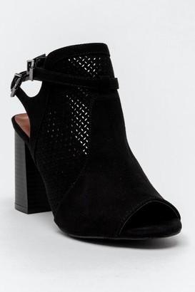 Mia Ari Perforated Heeled Sandal - Black