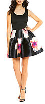 Teeze Me Solid Bodice to Floral Skirt Skater Dress