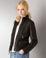 Aqua Leather Bomber Jacket with Detachable Lamb Fur Collar