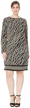 MICHAEL Michael Kors Size Link Strand Long Sleeve Border Dress (Black/Gold) Women's Clothing