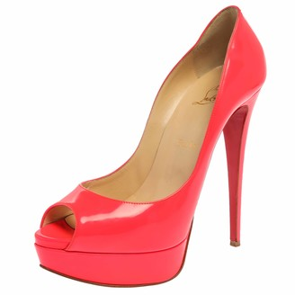 Christian Louboutin Neon Coral Patent Leather Peep Toe Pumps Size 39.5