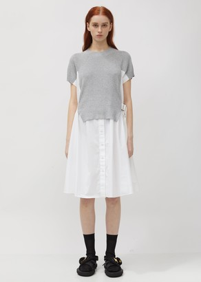 Sacai Cotton Knit Hybrid Shirtdress