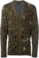 Lanvin paneled tiger print cardigan - men - Silk/Wool - M