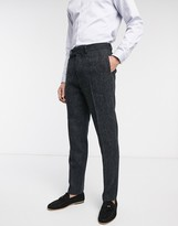 Asos Design DESIGN slim suit trousers in 100% wool Harris Tweed in charcoal herringbone
