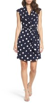 Eliza J Women's Polka Dot Jersey Faux Wrap Dress