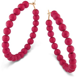 ginette_ny Extra Large Maria Coral Hoop Earrings - Rose Gold
