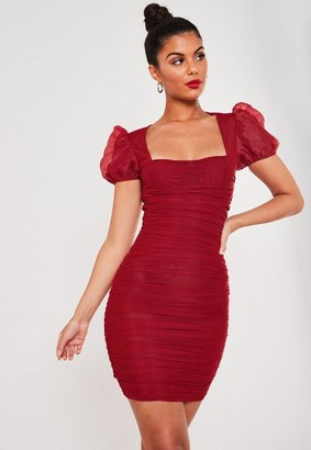 Missguided Red Mesh Ruched Puff Sleeve Mini Dress