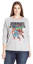Marvel Juniors Plus Size Licensed Heroes Group Shot Reversible Pullover