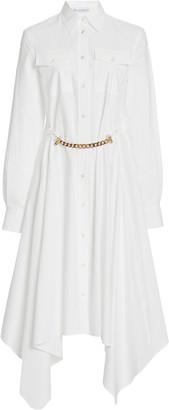 J.W.Anderson Embellished Asymmetric Cotton-Poplin Midi Dress