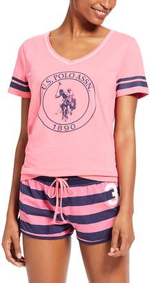 U.S. Polo Assn. Women's Sleep Bottoms PIS - Pink Stripe V-Neck Tee Pajama Set - Women