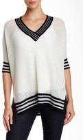 Minnie Rose V-Neck Cashmere Mesh Pullover