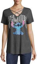Freeze Short Sleeve V Neck Lilo & Stitch Graphic T-Shirt