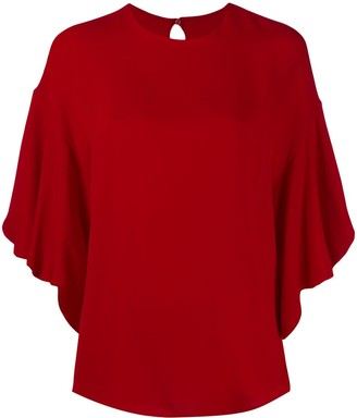 Valentino Frilled Tulip-Sleeve Blouse