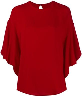 Valentino frilled tulip-sleeve blouse