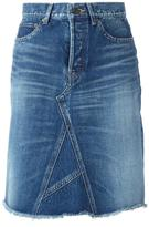 Saint Laurent A-line denim midi skirt - women - Cotton - 25