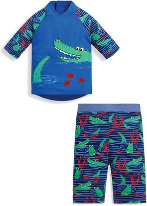 Jo-Jo JoJo Maman Bebe Boys' Board Shorts Indigo - Indigo Crocodile Rashguard Set - Infant