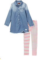 7 For All Mankind Denim Dress & Legging Set (Toddler Girls)