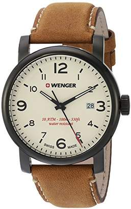 Wenger Men's Urban Metropolitan Stainless Steel Swiss-Quartz Watch with Leather Calfskin Strap