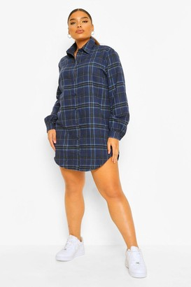 boohoo Plus Boyfriend Check Oversized Shirt Dress