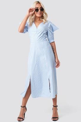 Trendyol Shoulder Detail Striped Midi Dress Blue