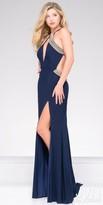 JVN by Jovani Rhinestone-Embellished Side Cutout Jersey Prom Dress