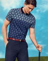 Ted Baker Ombr Golf Ball Print Polo Shirt Blue