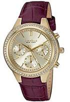 Bulova Women's Quartz Stainless Steel and Leather Casual Watch, Color:Purple (Model: 44L182)