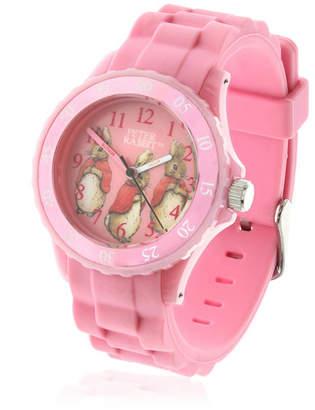 Beatrix Potter Children Three Bunnies Time Teacher Light Pink Silicone Strap Watch